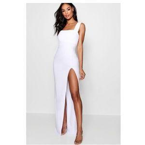 Tall Square neck Side Split Maxi dress Size 10 M/L